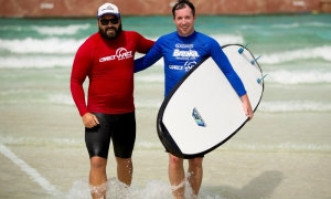 Fowler learns to surf and meets a wombat on the Gold Coast