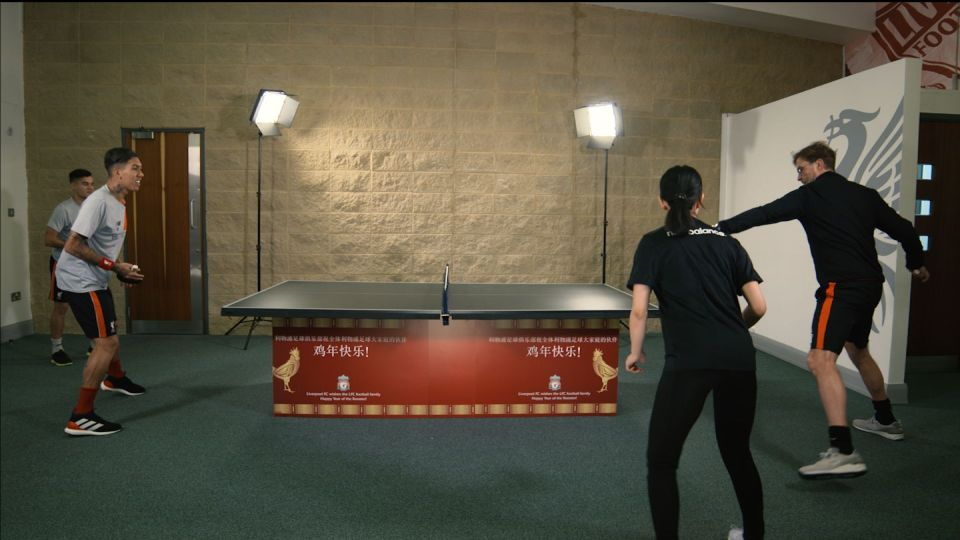 Coutinho and Firmino take on Klopp in table tennis battle